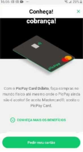 passo 1 cartão picpay